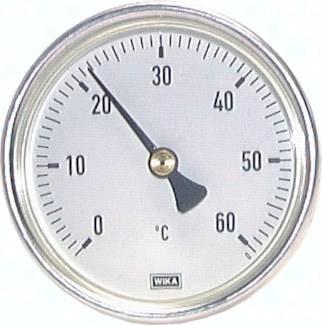 Bimetallthermometer waagerecht mit Aluminiumgehäuse und CU-Schutzrohr, Klasse 2.0