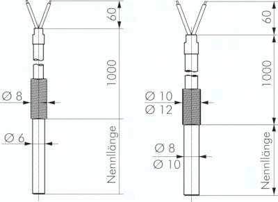 Einsteck-Widerstandsthermometer mit festem Kabel, DIN EN 60751