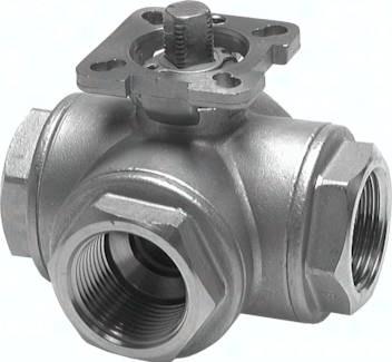 Edelstahl-3-Wege-Kugelhähne mit Montageflansch gemäß ISO 5211, PN 63