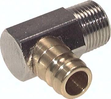 Kupplungsstecker 13 mm Zapfen, Außengewinde 90° ohne Ventil, PN 15
