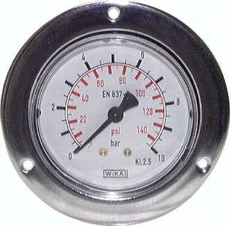 Einbaumanometer mit großem Frontring für Schalttafeleinbau, Klasse 2.5