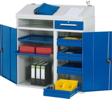 Beistellschrank mit Schreibaufsatz, 4 Schubladen und 2 Auszugstablaren, grau/blau