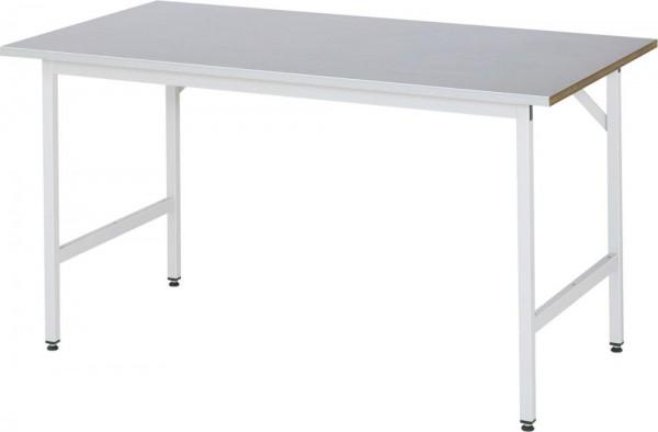 Höhenverstellbarer Arbeitstisch (800-850 mm) mit Funktionsunterbau Jerry, Stahlblechbelag-Platte