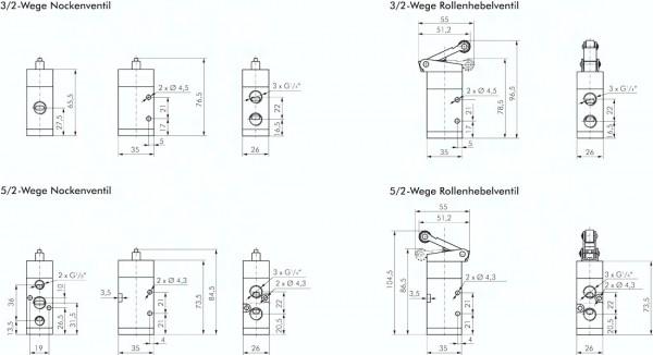 3/2- und 5/2-Wege Endschalter, Baureihe VM