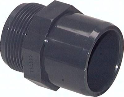 Klebe-Gewindenippel PVC-U, Innen- und Außenklebefläche (nur für Kunststoffgewinde), PN 10