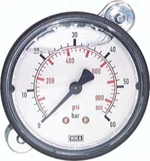 Glycerin-Einbaumanometer mit Kunststoff-Frontring Ø 63 mm, Klasse 2.5