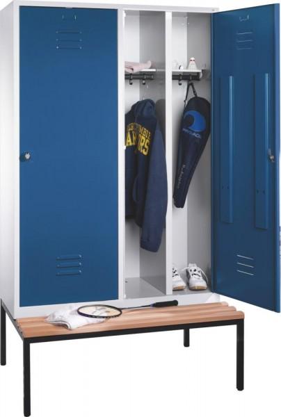 Garderobenschrank Serie Classic mit 150 mm hohen Füßen, Höhe 1850 mm, lichtgrau/lichtblau
