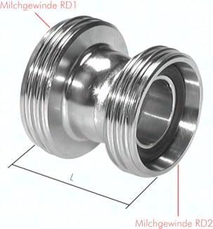 Doppelnippel reduzierend mit Rundgewinde (Milchgewinde) DIN 11852