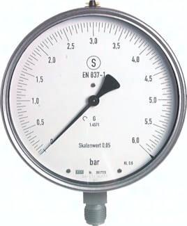 Feinmess-Sicherheitsmanometer senkrecht Ø 160 mm, Klasse 0.6